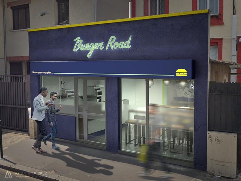 Burger road façade